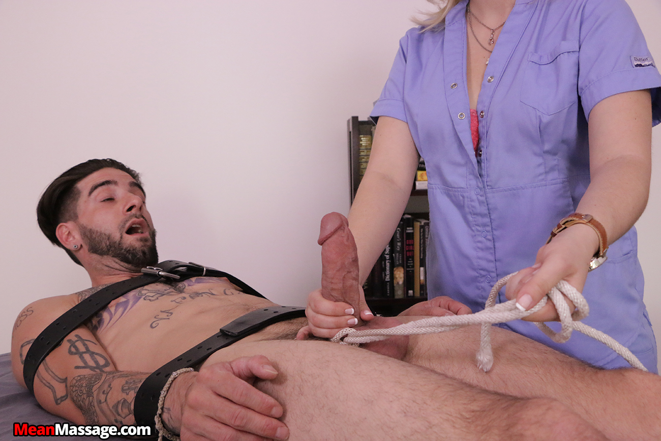 Man tied gets intense hand job