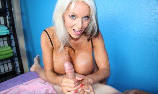 Sally D'Angelo jerking cock