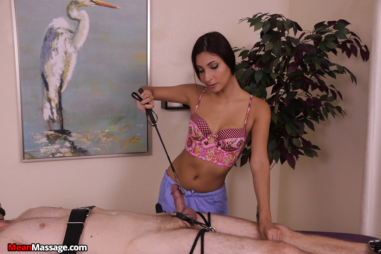 Mean masseuse ruins her bound clients handjob