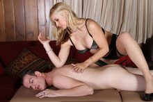 Dominant Sarah Ties Him And Strokes His Cock To The Edge And Ruins His Orgasm - Picture 3